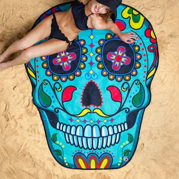 Big Mouth Sugar Skull Beach Towels