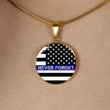 Thin Blue Line Commemorative Officer Down Police Necklace