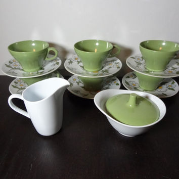 Vintage Avocado/Olive Green and White Melamine Dinnerware with Daisies - Set of 6 Tea Cups and Saucers, with Sugar Bowl and Creamer Pitcher