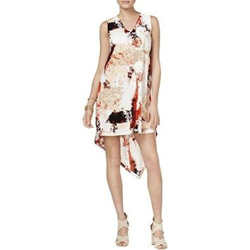 Bar III Womens Printed Sleeveless Wear to Work Dress