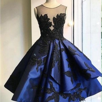 ANTI Luxury Navy Blue 2017 Robe De Cocktail Dresses Appliques For Wedding Party Short Vestidos De Coctel Party Bride Gowns