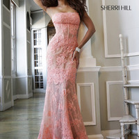 Straight Strapless Neckline Sherri Hill Formal Prom Dress 11084