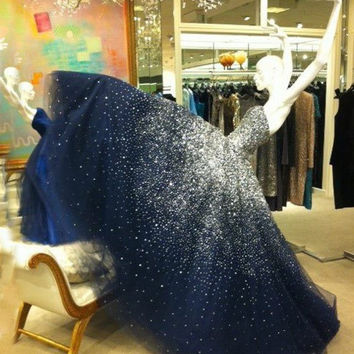 Sparkly Sequins Evening Dresses Ball Gown Strapless Navy Blue Tulle Long Formal Dress Party Gown vestidos elegantes