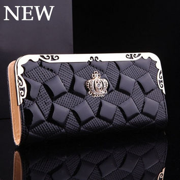 NEW Luxury Women Wallets Crown Lady Handbags Patent PU Leather Zipper Plaid Clutch Coin Purse Cards Holder Good Woman Burse Bags = 1958695236