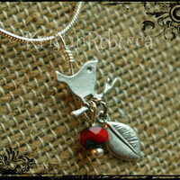Wren Necklace Red Berry Leaf Branch