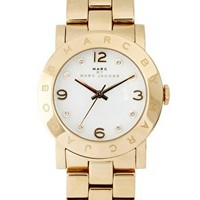 Marc By Marc Gold Bracelet with White Face Watch at asos.com