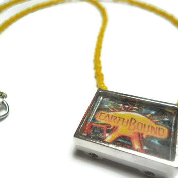 Earthbound video game necklace with yellow seed beads, 20 inches, FREE size adjustments