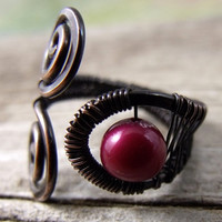 Copper Ring with Cherry Red Pearl