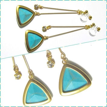 Framed Glass Turquoise 'clip on earring' R1MG, Wedding clip on earring, Bridal clip on earring, dangle earring, non pierced drop earring