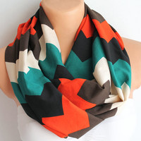 Infinity Scarf Loop Scarf Circle Scarf Cowl Scarf Soft and Lightweight Zigzag Chevron Print Red Green White