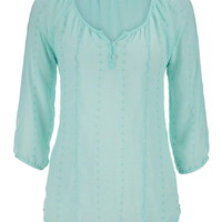 Chiffon Peasant Top With Embroidery