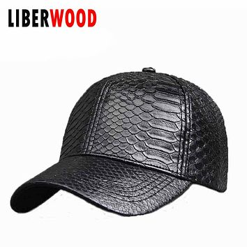 Spring Ladies girl Solid color pu leather cap python skin Baseball cap women casual outdoor Hat snakeskin hats snapback black