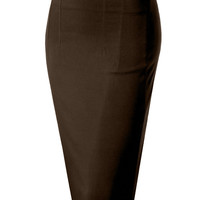 LE3NO Womens High Waisted Pencil Midi Skirt With Stretch (CLEARANCE)