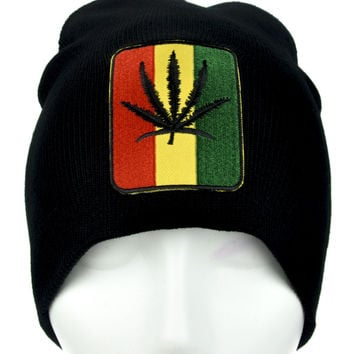 Rastafarian Pot Leaf Beanie Alternative Clothing Knit Rasta Marijuana Weed