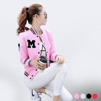 Korean 2016 Pink  Baseball Jacket Women Basic Coats Autumn Winter Casaco Abrigos Mujer Kaban Bayan New Fashion Camperas M939