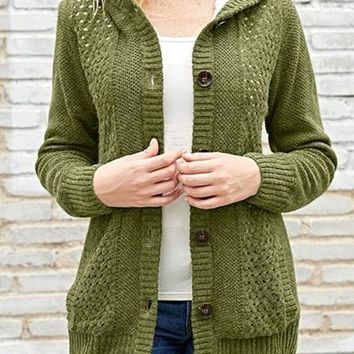 Chic Fleece Hooded Olive Button Down Cardigan Sweater