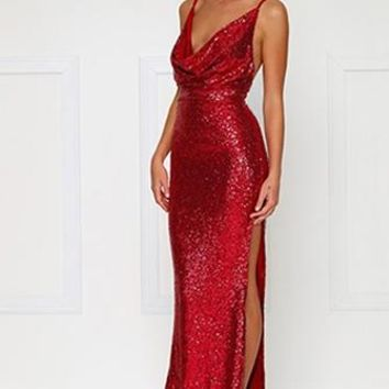 City Sparkler Red Sequin Spaghetti Strap Sleeveless Cowl Neck Backless Side Slit Maxi Dress Gown