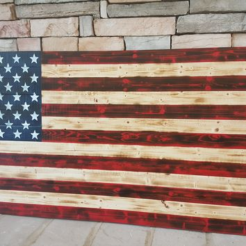 Red, Wood and Blue Handcrafted Wooden American Flag