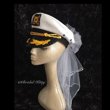 Last Sail Before the Veil Bachelorette Veil Bride Nautical Captain Hat & Sash Bridal Veil Sailor White Wedding Veil Anchor Cruise Pool Party