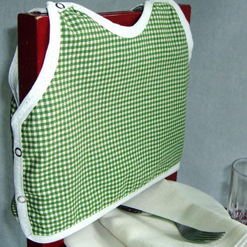 Gingham Print Bib Gender Neutral by maddywear