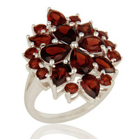925 Sterling Silver Natural Garnet Gemstone Cluster Statement Ring