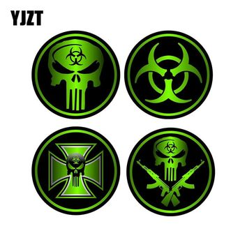 YJZT 8x8cm 4X ZOMBIE Decals Car Sticker Sniper Bio Skull Gun Accessories Retro-reflective Car Stickers C1-8086