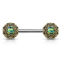 Set of Green Opal Glitter Tribal Heart Filigree Nipple Rings  Surgical Steel Nipple Barbells 14ga