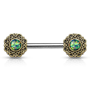 Green Opal Glitter Tribal Heart Filigree Nipple Ring Single  Surgical Steel Nipple Barbells 14ga