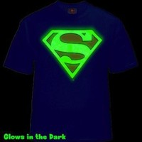 Superman Glow in the Dark Shield Mens T-Shirt (Blue) #40