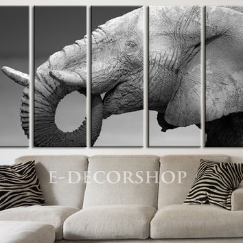 LARGE CANVAS ART - Elephant Canvas Art Print Wild Animal Life Theme for Home Decoration,Canvas Painting | Africa Photo Print Canvas
