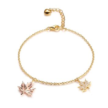 Maple Fall Bracelet for Women, Leaf Charms, 925 Sterling Silver