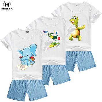 DMDM PIG Summer Cartoon Kids Clothes Toddler Boys Girls Clothing Sets Suits For Boys Clothes Sets Children's Sports Suits Boy