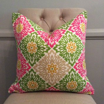 Handmade Decorative Pillow Cover - Waverly - Sweet Things Twill Punch - Green Pink Yellow