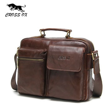 Men Shoulder & Handbags Genuine Leather Briefcases For Men Vintage Bags For Business Solid Satchel Bag
