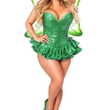 Daisy Top Drawer Premium Sequin Green Fairy Corset Dress Costume