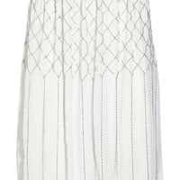 Needle & Thread - Grid bead-embellished chiffon skirt