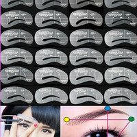New 24pcs/set Grooming Eyebrow Stencil