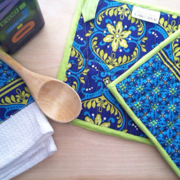 Modern, Potholders,Quilted,dish towel, kitchen towel, tea towel, gift set, Hot pads, blue, green, trivet, floral, gift