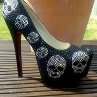 Stunning Skull Diamante detail Stiletto heel Platform Court from kandibags