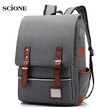 3763595086ed Retro Men Male canvas Backpack College School Student Backpacks