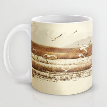 Art Coffee Cup Mug Nautical photography Java Lovers nature photo tan Brown nature landscape neutral earth tones Seagulls birds landscape