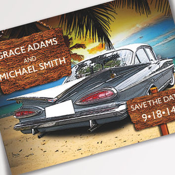 Classic Car Bel Air Save The Date Postcard - Available for Instant Download