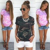 Women's Fashion Camouflage Short Sleeve Print T-shirts [10944600071]
