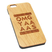 OMG YAAAAS Wood Engraved iPhone 6s Case iPhone 6 Case iPhone 6s 6 Plus Cover Natural Wooden iPhone 5s 5 Case Samsung Galaxy S6 S5 Case D125