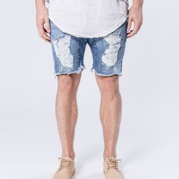 KALOX DESTROYED - OCEAN BLUE JEAN SHORTS