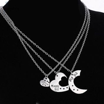 3 Matching Silver Heart Sisters Necklace Best Friends Forever