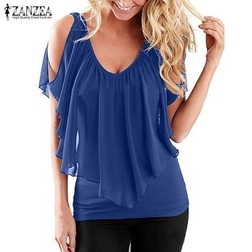 Womens Off Shoulder V Neck Splicing Solid Chiffon Top