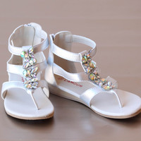 L'Amour Girls Strappy Jewel Sandal