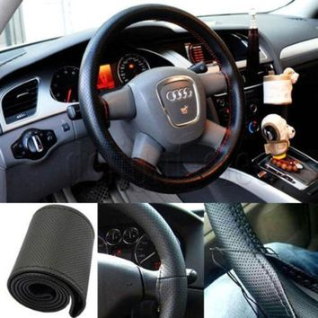 Pu Leather Diy Car Steering Wheel Cover With Needle And Thread = 1932274372