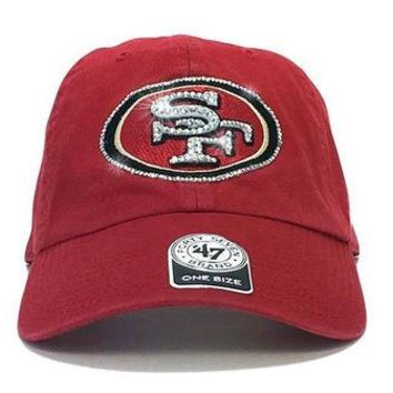 DCCKH9D San Francisco 49ers '47 Brand Adjustable Cap + Custom Swarovski Crystals